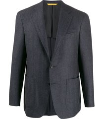 canali geometric woven blazer - blue