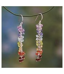 multi gemstone chakra earrings, 'joyous life' (india)