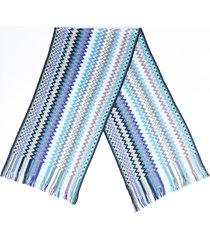 missoni chevron wool knit scarf blue/multicolor/geometric sz:
