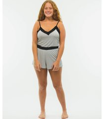pijama side b lace curto listrado preto/branco