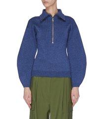 half zip marl knit sweater