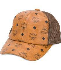 mcm monogram print mesh cap - brown