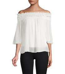 cotton blend off-the-shoulder top