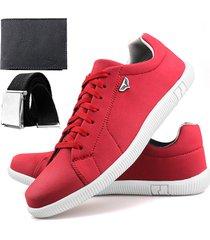sapatenis neway sw  vermelho + cinto + carteira - vermelho - masculino - dafiti