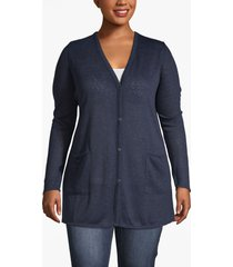 lane bryant women's lane essentials v-neck tunic cardigan 18/20 dark water