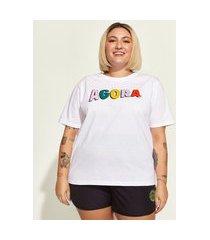 "t-shirt feminina plus size mindset obvious agora"" manga curta decote redondo branca"""
