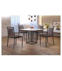 conjunto de mesa de jantar hera com tampo de vidro mocaccino e 4 cadeiras grécia ii couríssimo marrom e preto