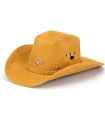 chapéu fourcountry americano couro castor trançado amarelo