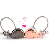 2pcs couple lover cute whale metal purse bag keychain key fob tassel charm gift