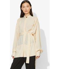 proenza schouler oversized long sleeve tied buttoned top ecru/white 4