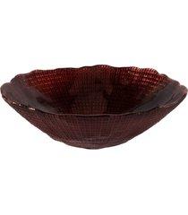 saladeira dunya de vidro marrom 17cm - infinity vinho