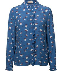 aika blouse lange mouwen blauw custommade
