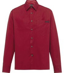 prada cotton shirt with mother of pearl buttons - red