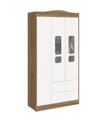 roupeiro 3 portas danny branco fosco/ mezzo reller móveis
