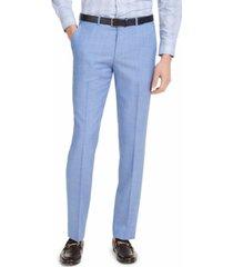 hugo hugo boss men's classic-fit light blue solid suit pants