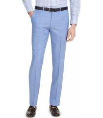 hugo men's modern-fit light blue solid suit pants