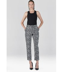 natori stencil vine jacquard ankle pants, women's, cotton, size 10