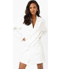 oversized boxy blazer jurk, white