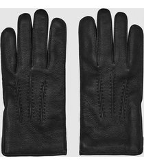 reiss iowa - leather zip detail gloves in black, mens, size l