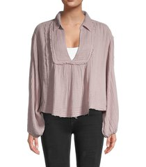 free people women's cozy dreams top - daytime fig - size l