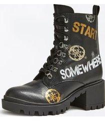 buty w stylu militarnym z napisami model marven