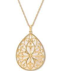 """mother-of-pearl teardrop filigree 18"""" pendant necklace in 14k gold-plated sterling silver"""