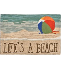 """liora manne front porch indoor/outdoor life's a beach sand 2'6"""" x 4' area rug"""