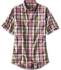 signature madras short-sleeved shirt, natural, x large