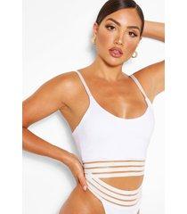 mesh detail bikini crop top, white