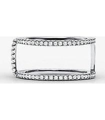 mk anello di supporto in argento sterling con placcatura in metallo prezioso e pavé - argento (argento) - michael kors