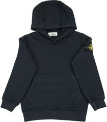 stone island hooded sweatshirt in blue