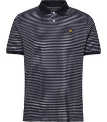 retro repeat polo shirt polos short-sleeved blå lyle & scott