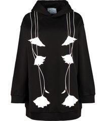 prada printed cotton hoodie