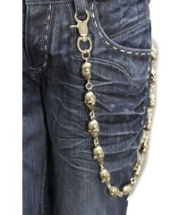 men women silver metal long wallet chains keychain thick biker jean strong skull