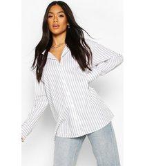 cotton stripe oversized shirt, white