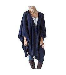 alpaca blend shawl, 'versatile blue' (peru)