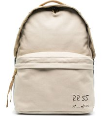 diesel logo-print zip-up backpack - neutrals