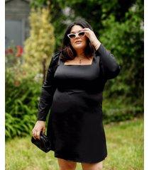 danielle bernstein plus size long-sleeve mini dress, created for macy's