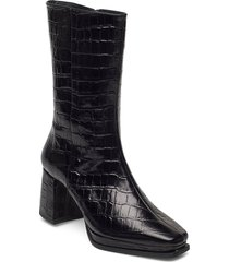 lisa black croco leather shoes boots ankle boots ankle boot - heel svart flattered