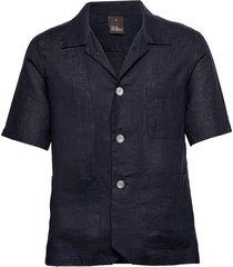 hanks reg shirt wash overhemd met korte mouwen blauw oscar jacobson