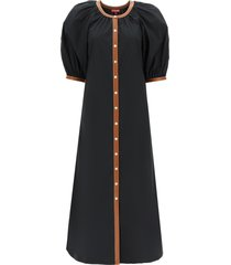 staud vincent dress in cotton and vegan leather