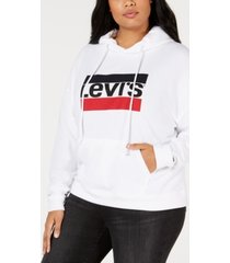 levi's plus size logo fleece hoodie