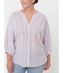 loft loft plus striped hi-lo button down shirt