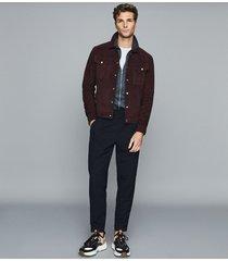 reiss max - zip through polo shirt in airforce blue, mens, size xxl