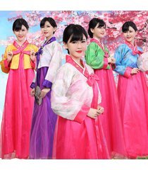 lady korean traditional clothes dress hanbok woman with silver hanbok costume