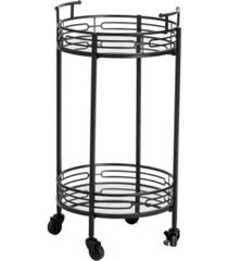 """glitzhome 29.50"""" h deluxe 2-tier metal round mirrored bar cart"""