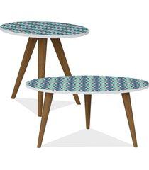 kit com mesa de centro e mesa de canto lateral lyam decor retrã´ estampa azul - azul - dafiti