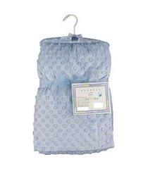 cobertor para bebê microfibra de bolinhas 1,50m x 1,00m com cabide sweet baby - azul
