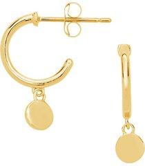 sf fine women's 14k yellow gold disk charm micro hoop earrings