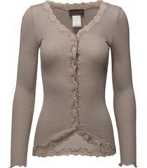 silk cardigan ls w/ lace gebreide trui cardigan roze rosemunde